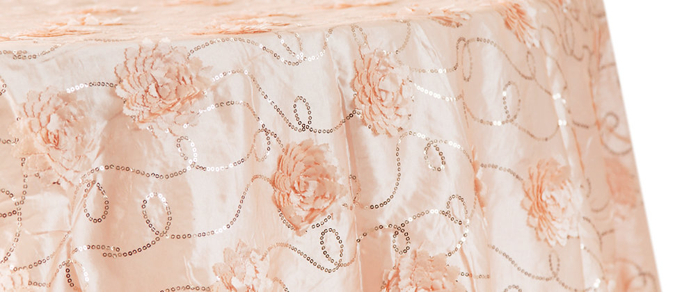 "Flower on Sequin Taffeta Tablecloth 120"" Round - Blush/Rose Gold"