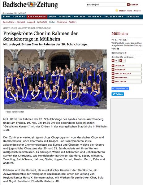 28. Baden-Württembergische Schulchortage Müllheim 2017