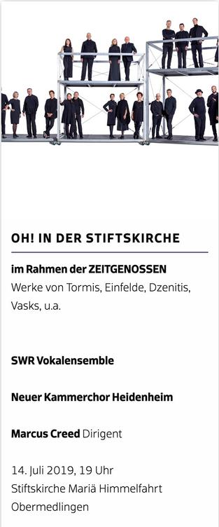 OH! IN DER STIFTSKIRCHE - Wiedersehen mit unserem Patenchor, dem SWR Vokalensemble Stuttgart