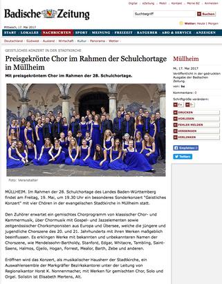 Preisgekrönter Chor im Rahmen der Schulchortage in Mühlheim