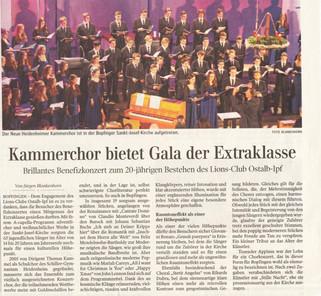 Kammerchor bietet Gala der Extraklasse