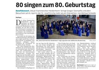 80 singen zum 80. Geburtstag