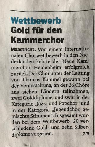 Wettbewerb - Gold für den Neuen Kammerchor