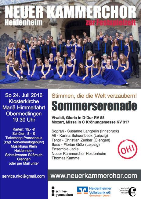 Neuer Kammerchor zur Festspielzeit  Stimmen, die die Welt verzaubern Sommerserenade 2016: