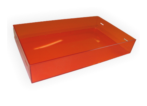 Bandeja em acrílico color 4mm, de 56x30x6cm