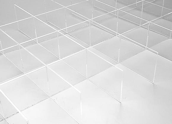 Organizador de Gaveta em acrílico cristal 4mm, de 40x30x8cm