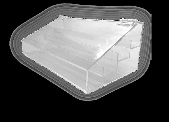 Expositor em acrílico cristal 3mm, de 33x17x12cm, com 4 andares