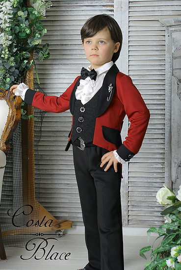 Gentleman suit for boy in Black and Burgundy colors