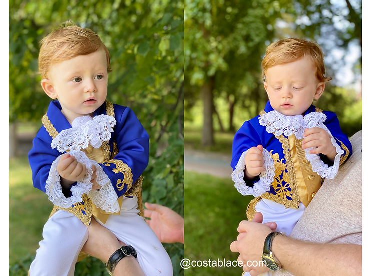 Historical Prince costume. First birthday outfit in royal blue.