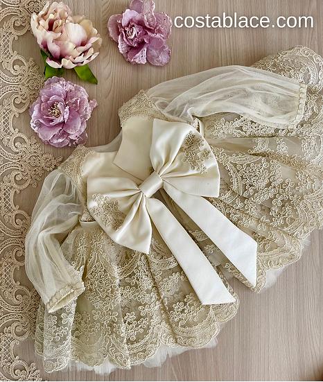 Elegant ivory dress for baby