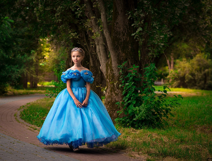 Deluxe blue ball gown for girl