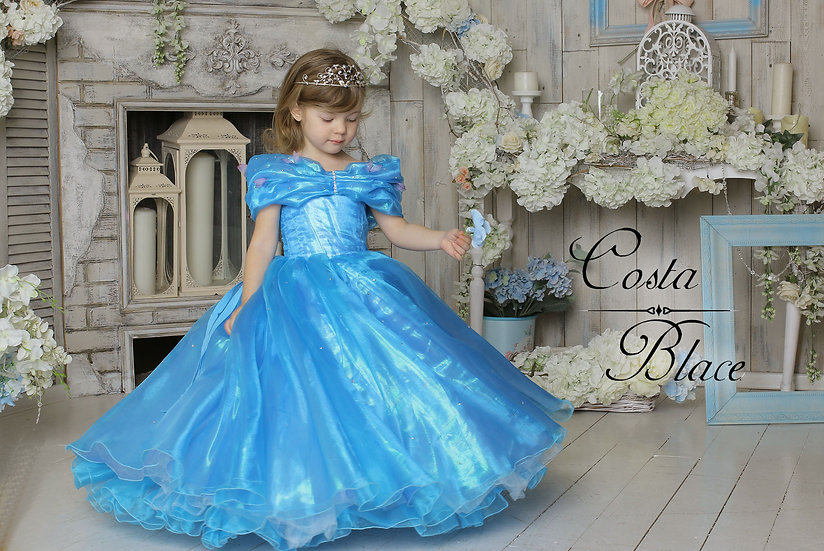 Deluxe irridescent blue ball gown for girl
