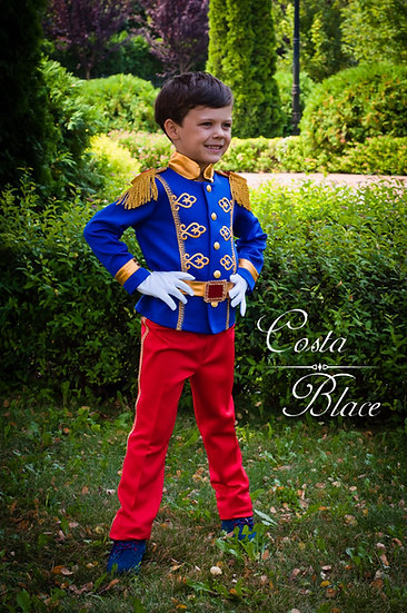 Prince Charming costume in red and royal blue