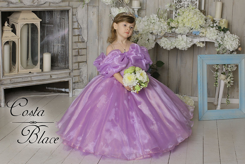 Lavender pearl ball gown for girl
