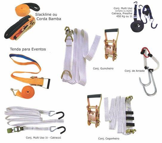 Cintas para amarração de cargas, slackline ou corda bamba, tenda para eventos