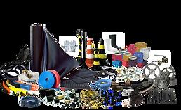 Sinalização, cones, pedestais, fitas, lençol de borracha, mangueiras, conexões, abraçadeiras, fitas, cola, correias