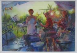 "#14_Merit_MarieFlahive_""PlayingGold""_Watercolor_#13"