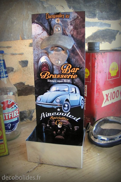 "Décapsuleur mural Volkswagen Cox version vintage ""Bar Brasserie Aircooled"""