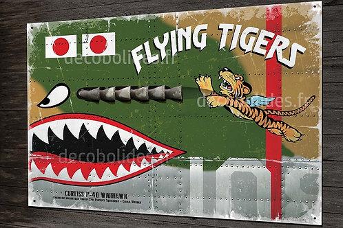 Plaque métal déco chasseur P-40 Warhawk AVG flying tigers, ww2 warbirds.