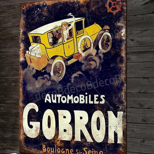 """Plaque métal repro publicité """"Automobiles GOBRON """" anciennes autos avant guerre"""