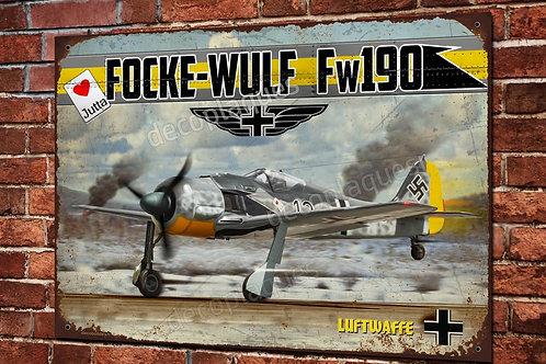 Plaque métal déco chasseur Focke-Wulf 190A WW2 Luftwaffe