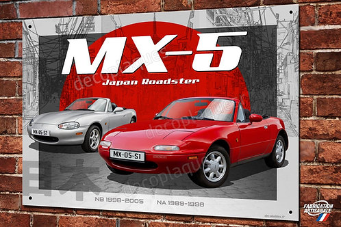 Plaque métal déco Mazda MX-5 Japan roadster cabriolet youngtimer.