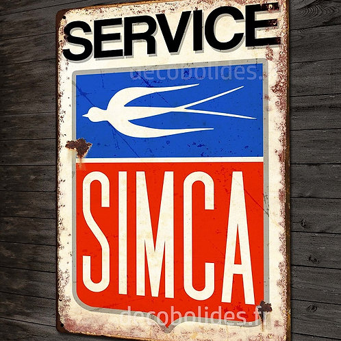 """Plaque métal déco garage """"Service Simca"""" imitation plaque émaillée vintage."""
