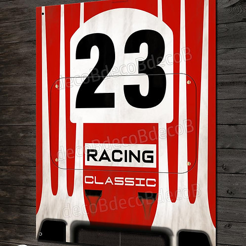 Plaque métal déco garage Artwork Porsche 917K N°23 racing classic