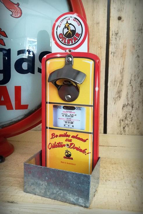 """Décapsuleur mural """"Oilstar drink"""" jaune orangé, style pompe à essence vintage"""