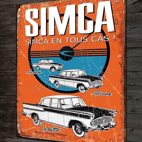 Plaque métal  SIMCA Ariane, Aronde, Vedette, imitation plaque émaillée ancienne.