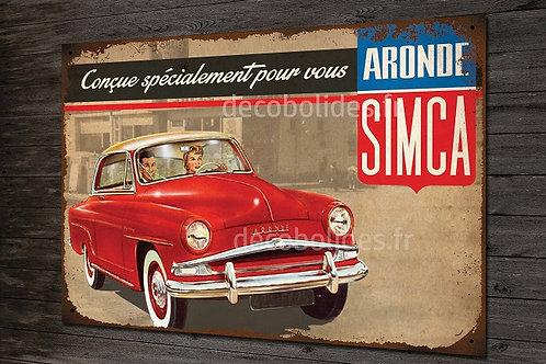 Plaque métal SIMCA Aronde, déco garage voiture ancienne.
