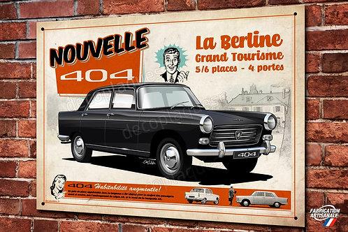 Plaque métal déco Peugeot 404, Berline populaire, illustration C.Clérici