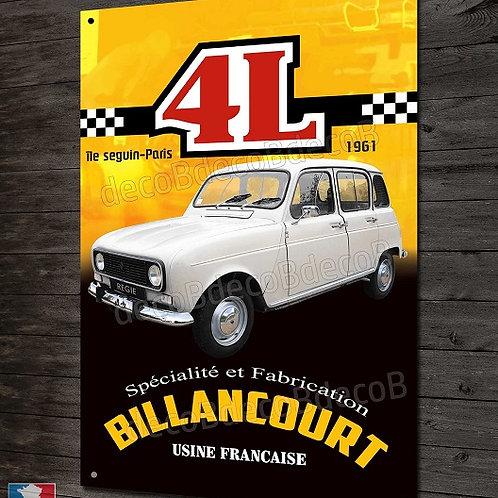 Plaque métal Renault 4 et 4L Usine Billancourt, déco garage vintage