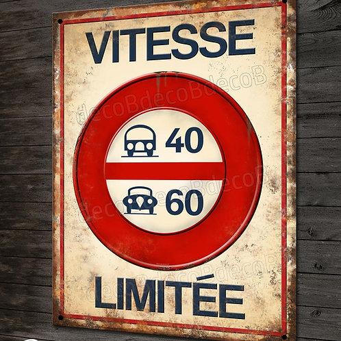 Plaque métal reproduction ancien panneau de signalisation routière vintage
