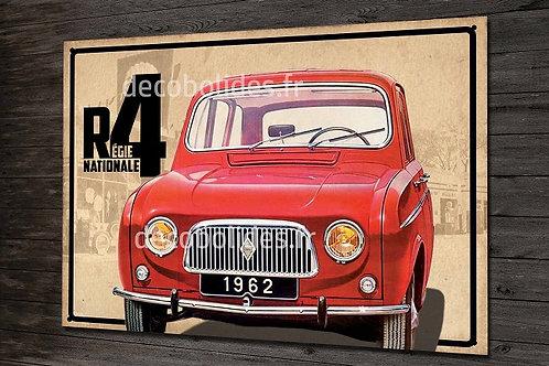 Plaque métal Régie nationale Renault R4 (4L rouge) déco garage vintage