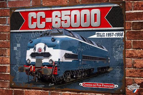 """Plaque métal déco Locomotive Diesel CC-65000 """"le sous-marin"""" Train SNCF"""