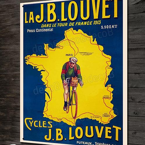 Plaque métal reproduction affiche vintage vélo cycles JB LOUVET