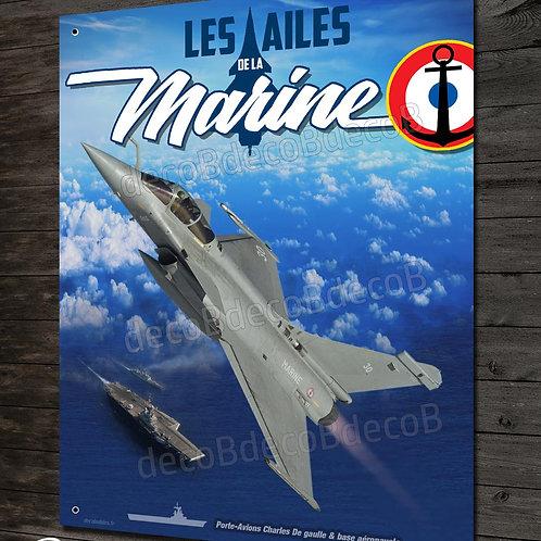 Plaque métal déco, les ailes de la marines, Rafale M Aéronautique navale France