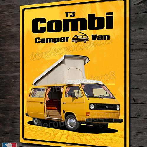 Plaque métal déco VW Combi T3 camper van, déco garage VW vintage