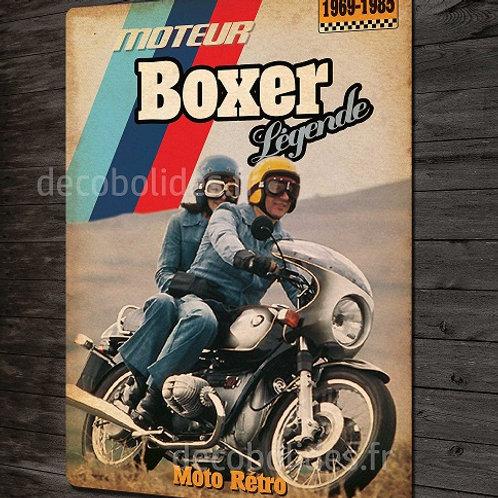 Plaque métal déco Moto vintage BMW moteur boxer, déco garage motard rétro