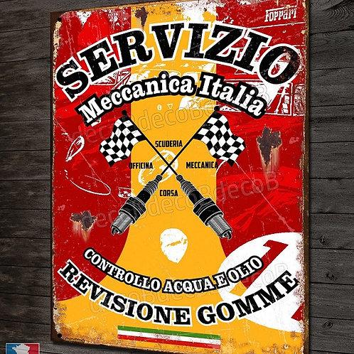 """Plaque métal """" Servizio Meccanica Italia """" déco garage voiture collection"""