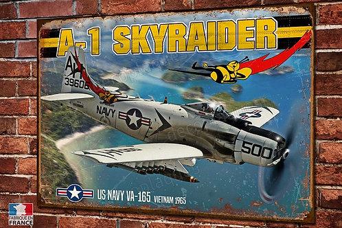 Plaque métal déco Douglas A-1 Skyraider bombardier US Navy Guerre du Viêt-Nam
