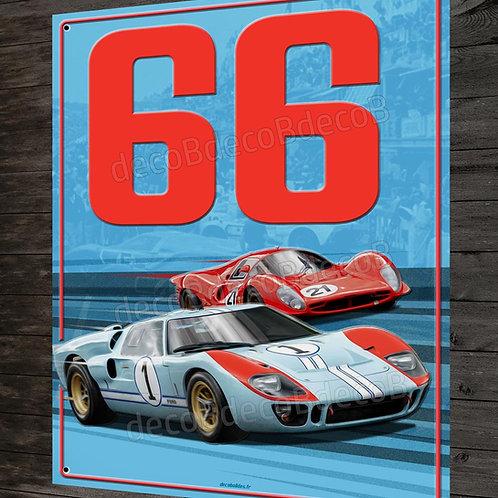 Artwork plaque métal déco Duel Ford GT40 et Ferrari 330 P3 Le Mans 66, Daytona