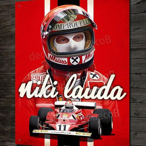 Plaque métal Artwork Niki Lauda pilote et champion du monde de Formule 1 Ferrari