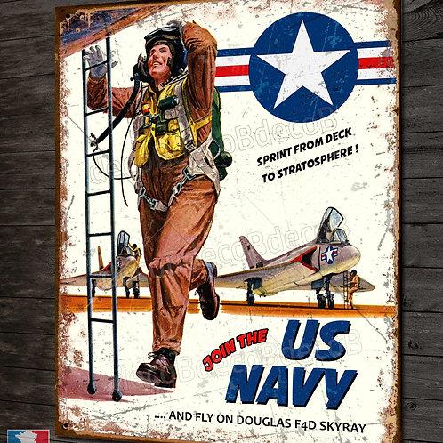 Plaque métal déco pilote US navy douglas F4D Skyray porte-avions Américain.