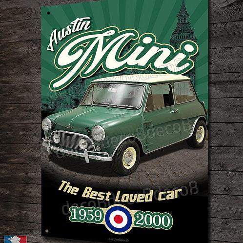 Plaque métal Austin Mini 1959-2000, déco garage auto vintage&collection.