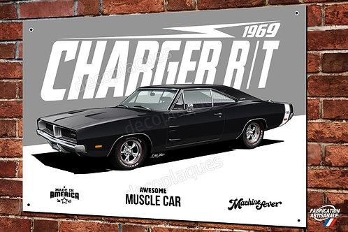 Plaque métal déco Dodge Charger R/T 1969 muscle car artwork Christophe Clérici