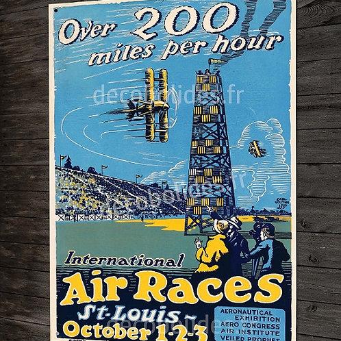 """Plaque métal déco poster vintage aviation de course """"air races"""" avion ancien."""
