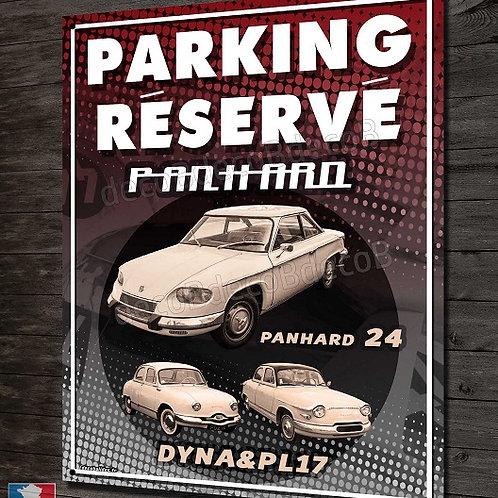 """Plaque métal déco,""""Parking réservé Panhard 24 & Dyna & PL17"""""""