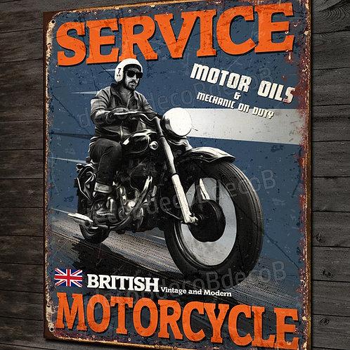 Plaque métal motard British motorcycle service, déco garage moto rétro
